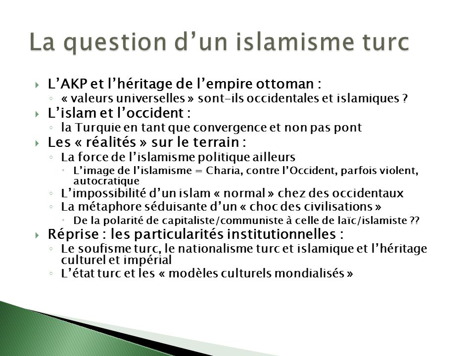 La question d'un islamisme turc