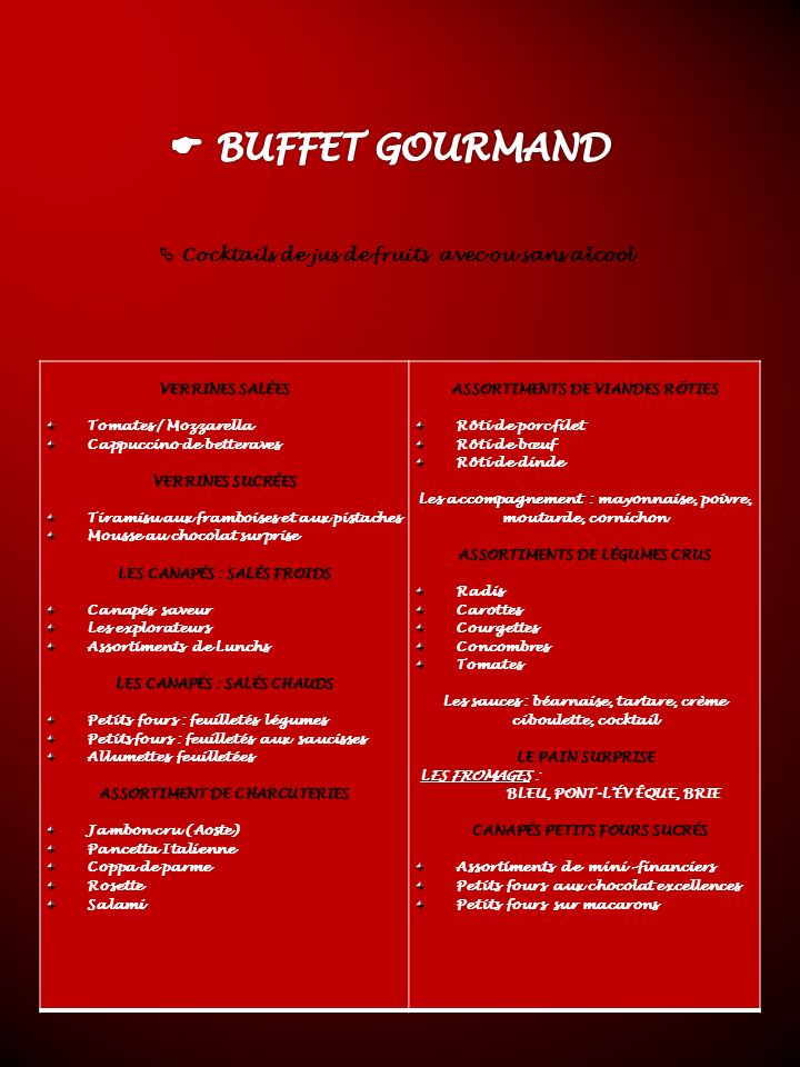 BUFFET GOURMAND  Cocktails de jus de fruits avec ou sans alcool