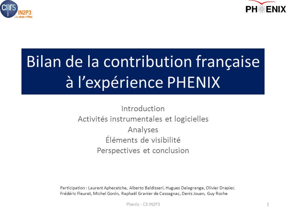 Bilan de la contribution française à l'expérience PHENIX