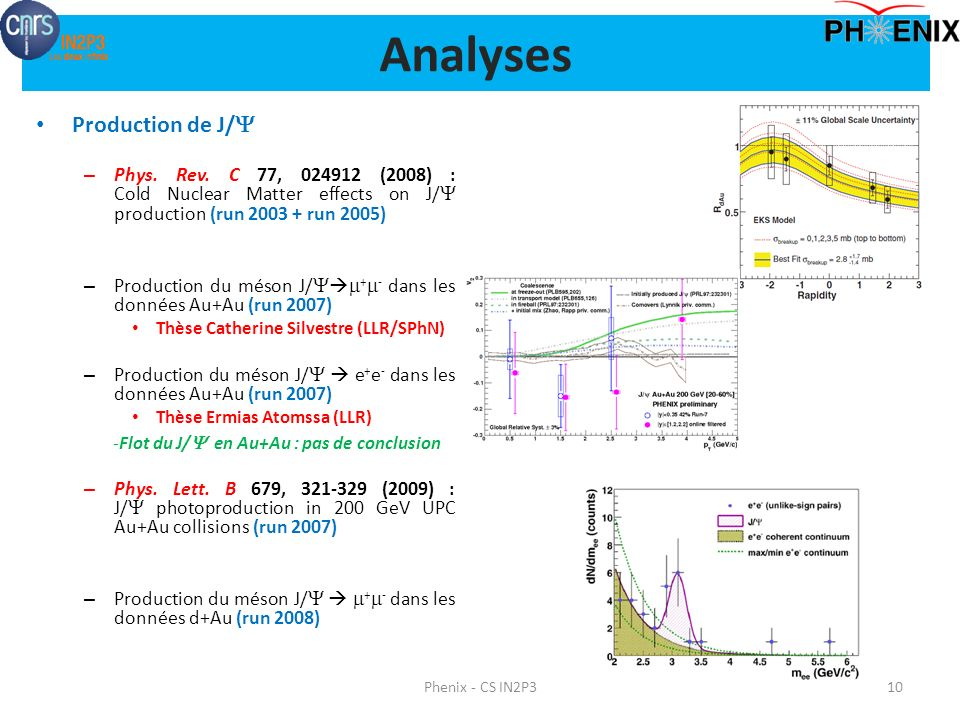 Analyses Production de J/Y