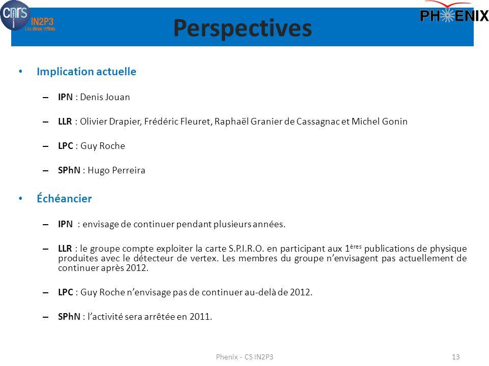 Perspectives Implication actuelle Échéancier IPN : Denis Jouan