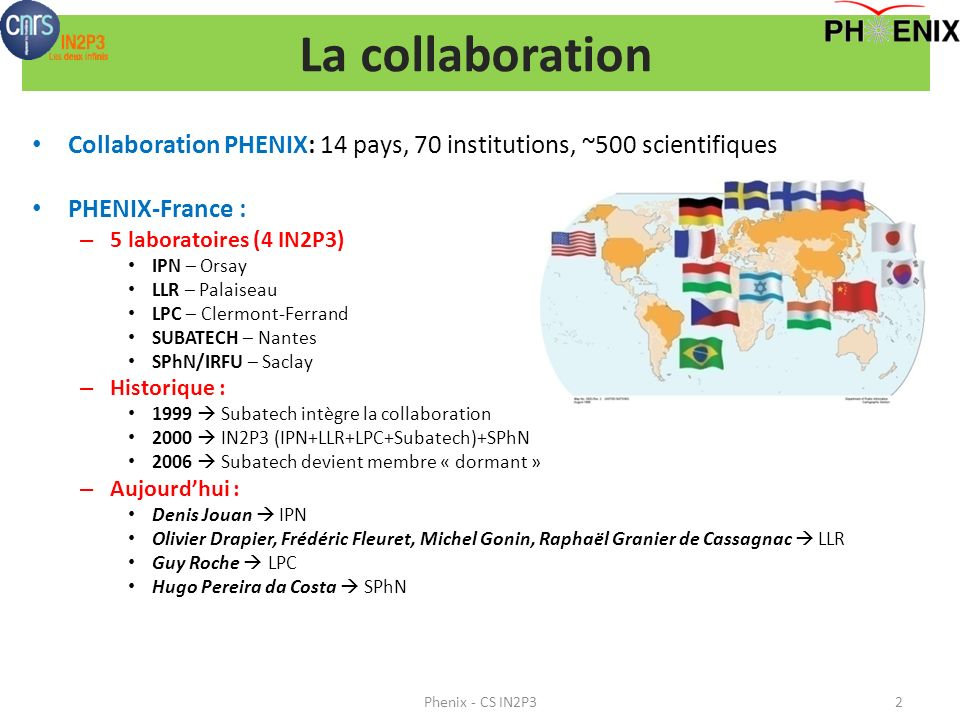 La collaboration Collaboration PHENIX: 14 pays, 70 institutions, ~500 scientifiques. PHENIX-France :