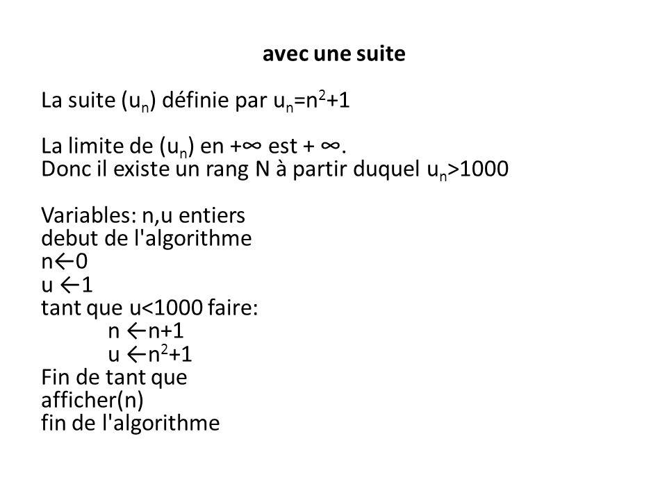 avec une suite La suite (un) définie par un=n2+1 La limite de (un) en +∞ est + ∞.
