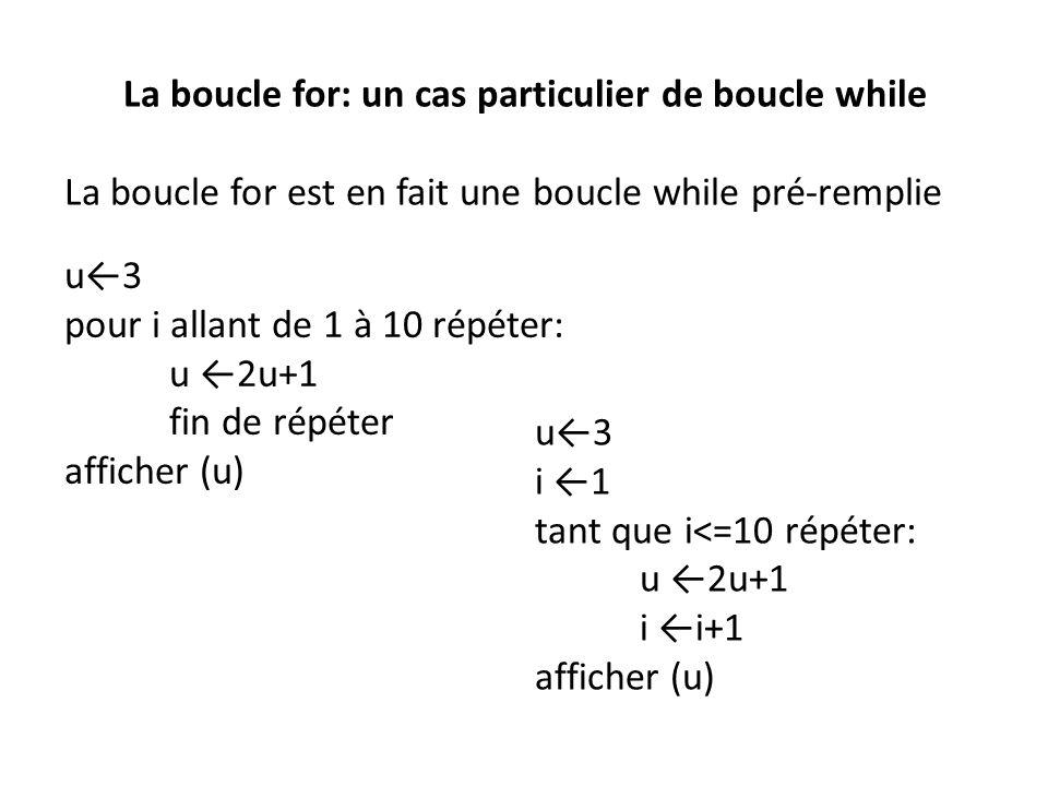 La boucle for: un cas particulier de boucle while La boucle for est en fait une boucle while pré-remplie