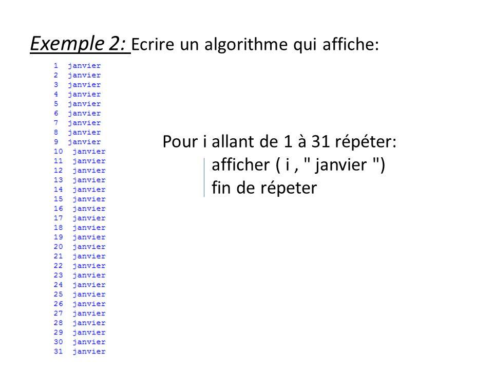 Exemple 2: Ecrire un algorithme qui affiche:
