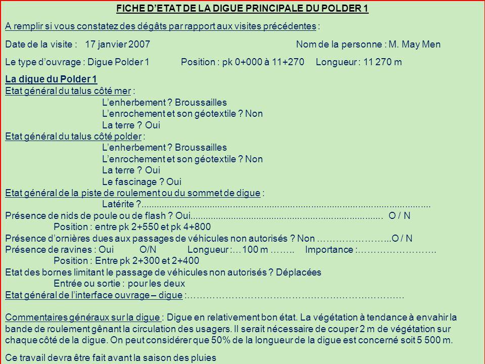FICHE D'ETAT DE LA DIGUE PRINCIPALE DU POLDER 1