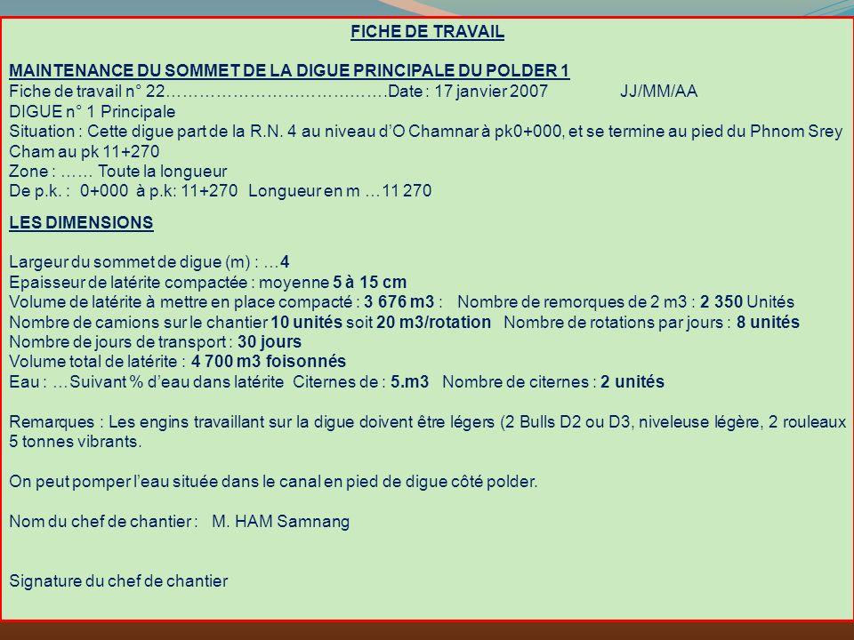 FICHE DE TRAVAIL MAINTENANCE DU SOMMET DE LA DIGUE PRINCIPALE DU POLDER 1.