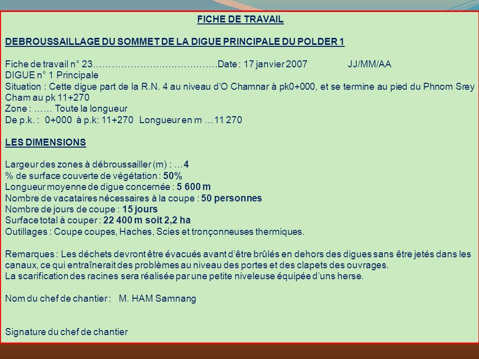 FICHE DE TRAVAIL DEBROUSSAILLAGE DU SOMMET DE LA DIGUE PRINCIPALE DU POLDER 1.