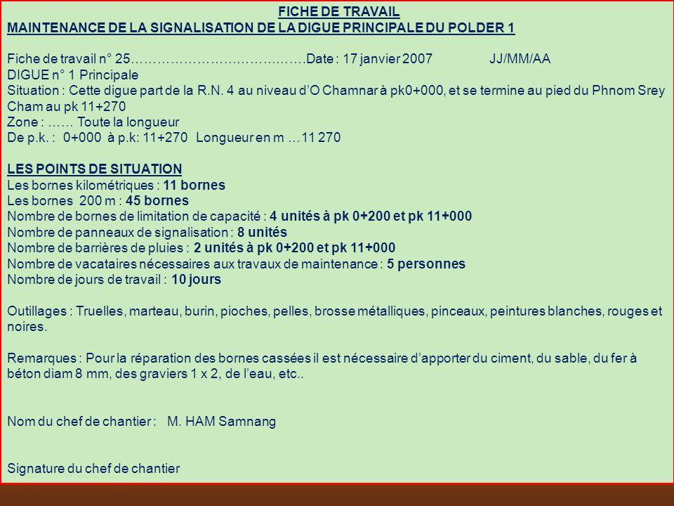 FICHE DE TRAVAIL MAINTENANCE DE LA SIGNALISATION DE LA DIGUE PRINCIPALE DU POLDER 1.