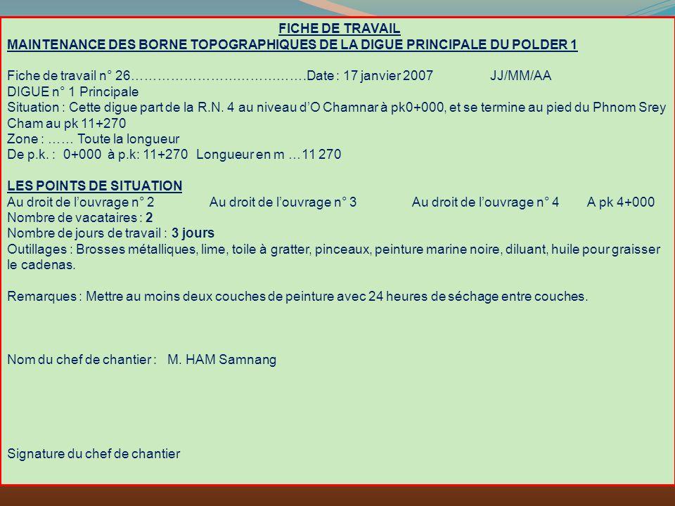 FICHE DE TRAVAIL MAINTENANCE DES BORNE TOPOGRAPHIQUES DE LA DIGUE PRINCIPALE DU POLDER 1.