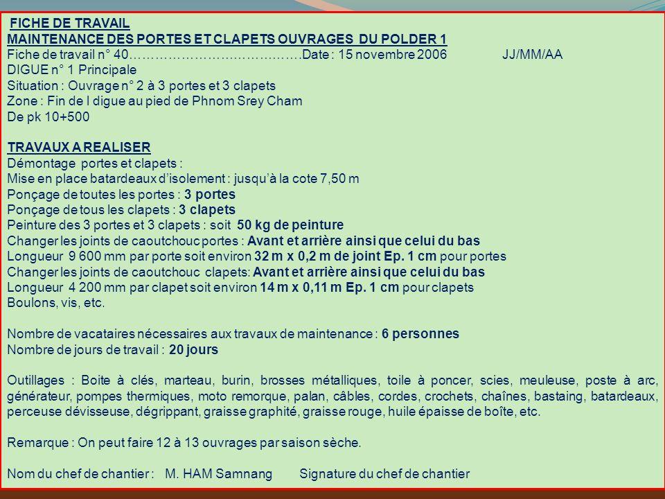 FICHE DE TRAVAIL MAINTENANCE DES PORTES ET CLAPETS OUVRAGES DU POLDER 1.