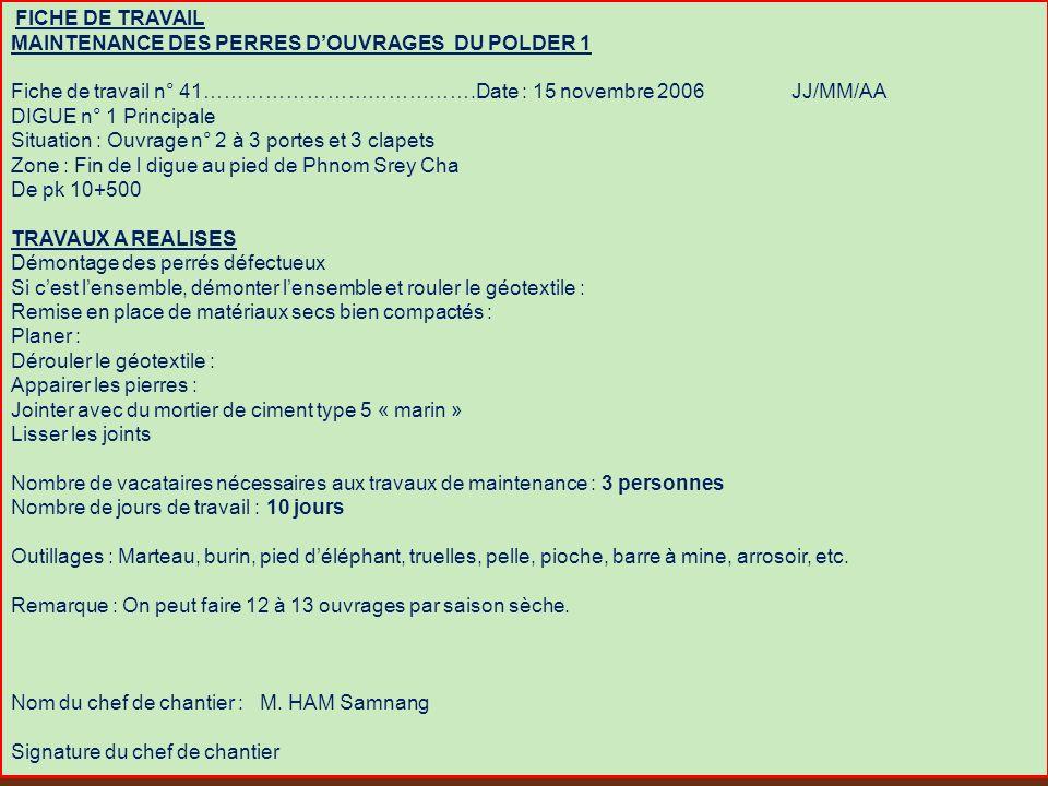 FICHE DE TRAVAIL MAINTENANCE DES PERRES D'OUVRAGES DU POLDER 1.