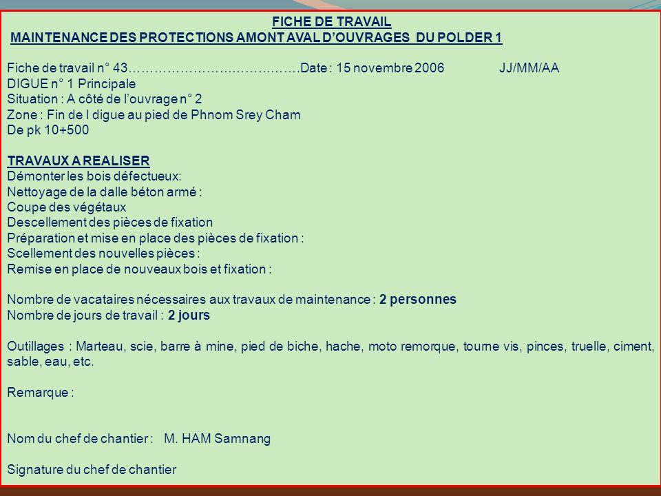 FICHE DE TRAVAIL MAINTENANCE DES PROTECTIONS AMONT AVAL D'OUVRAGES DU POLDER 1.