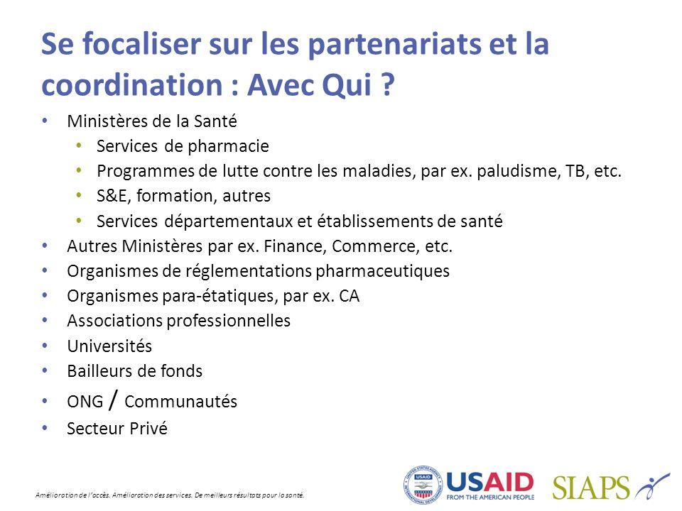 Se focaliser sur les partenariats et la coordination : Avec Qui