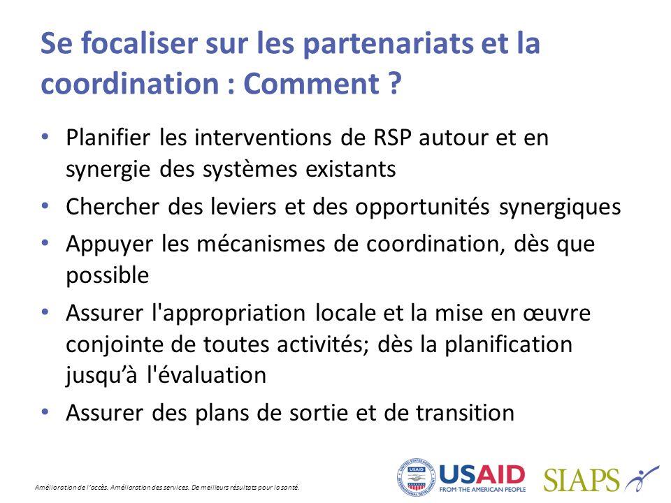 Se focaliser sur les partenariats et la coordination : Comment