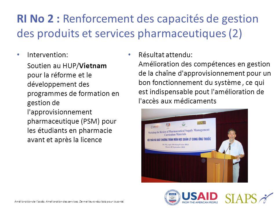 RI No 2 : Renforcement des capacités de gestion des produits et services pharmaceutiques (2)