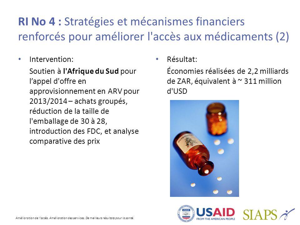 RI No 4 : Stratégies et mécanismes financiers renforcés pour améliorer l accès aux médicaments (2)