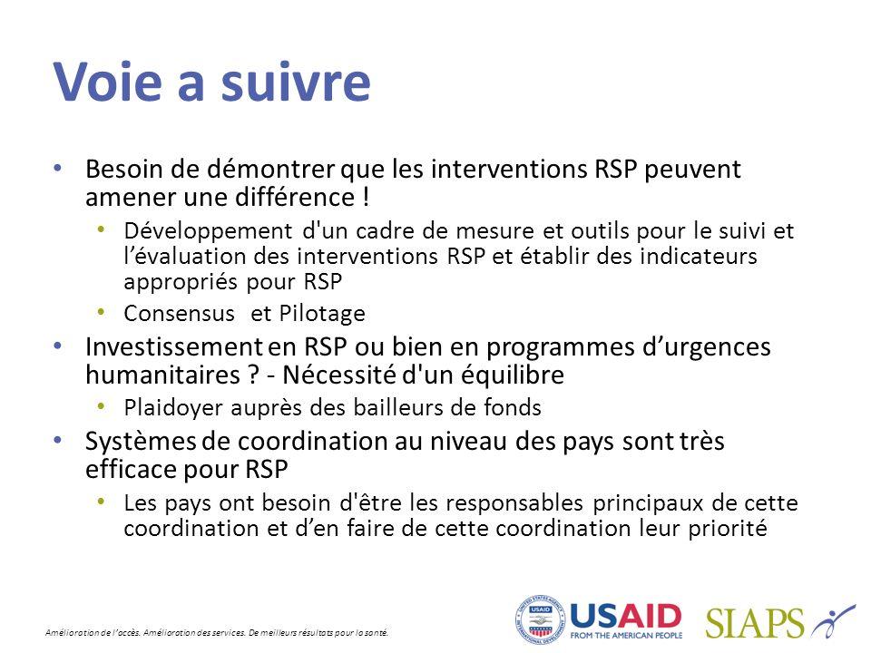 Voie a suivre Besoin de démontrer que les interventions RSP peuvent amener une différence !