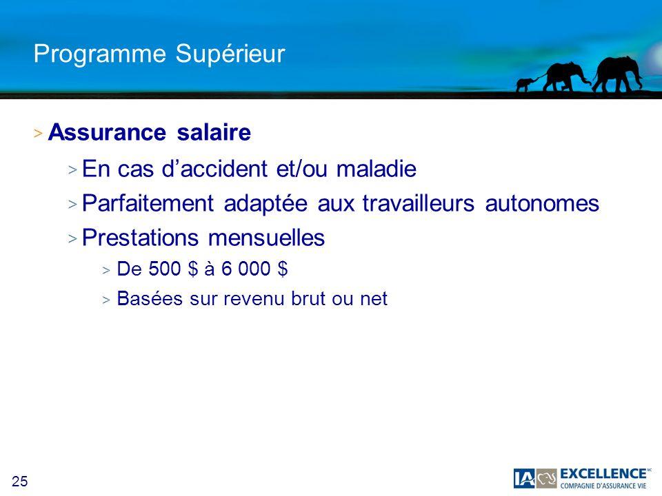 Programme Supérieur Assurance salaire En cas d'accident et/ou maladie