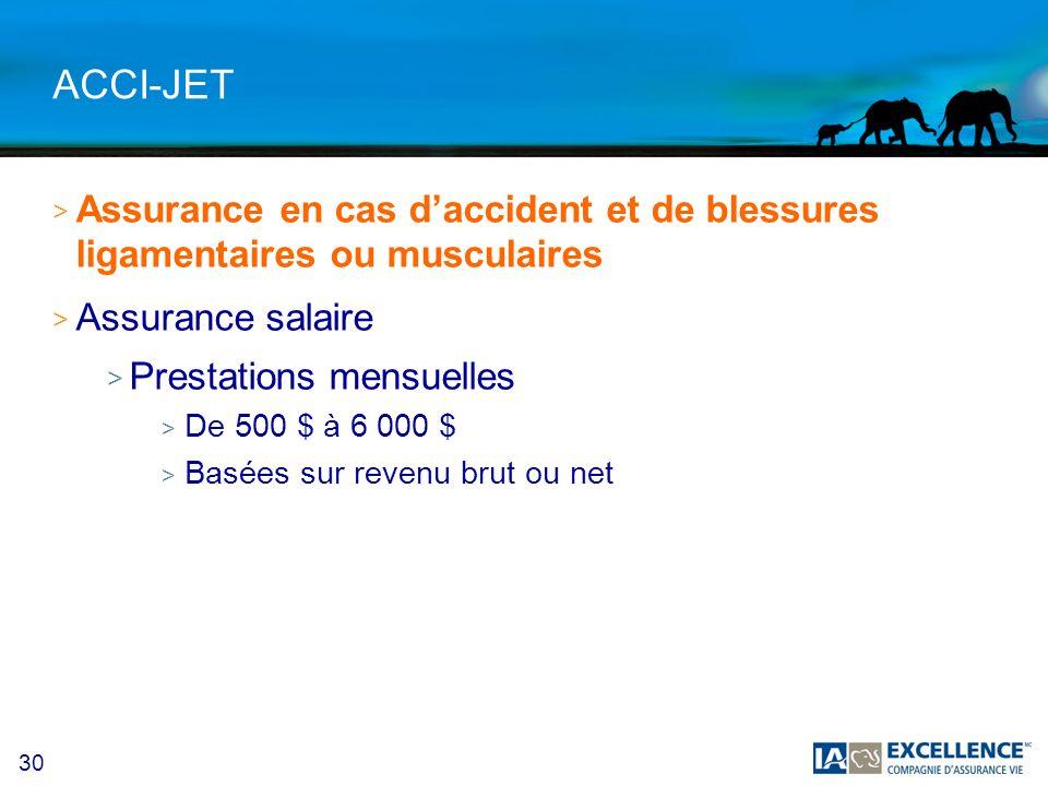 ACCI-JET Assurance en cas d'accident et de blessures ligamentaires ou musculaires. Assurance salaire.