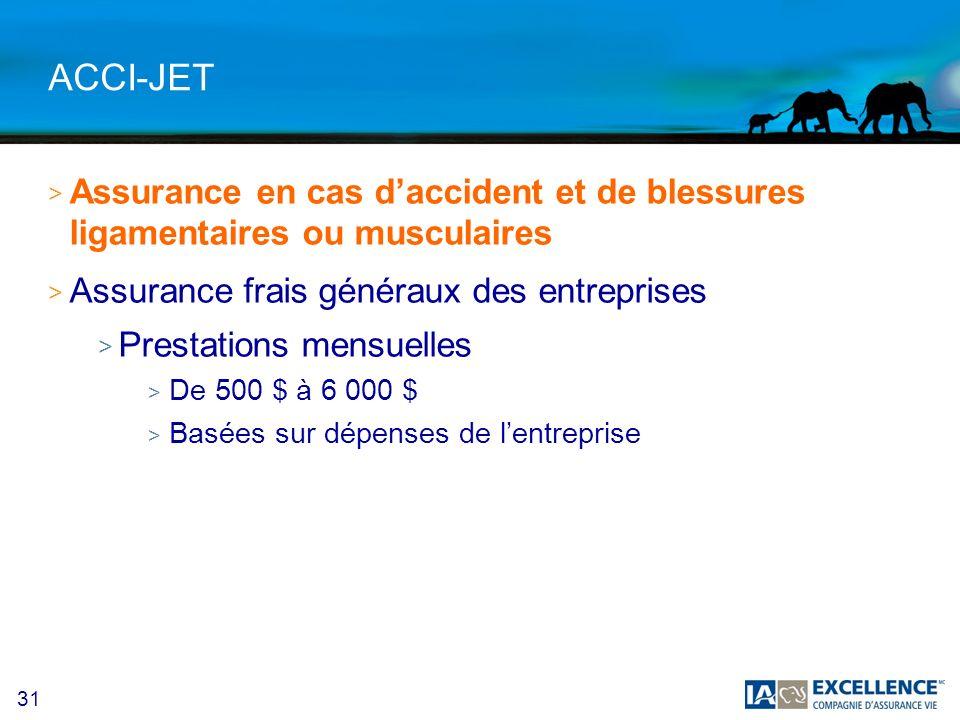 ACCI-JET Assurance en cas d'accident et de blessures ligamentaires ou musculaires. Assurance frais généraux des entreprises.