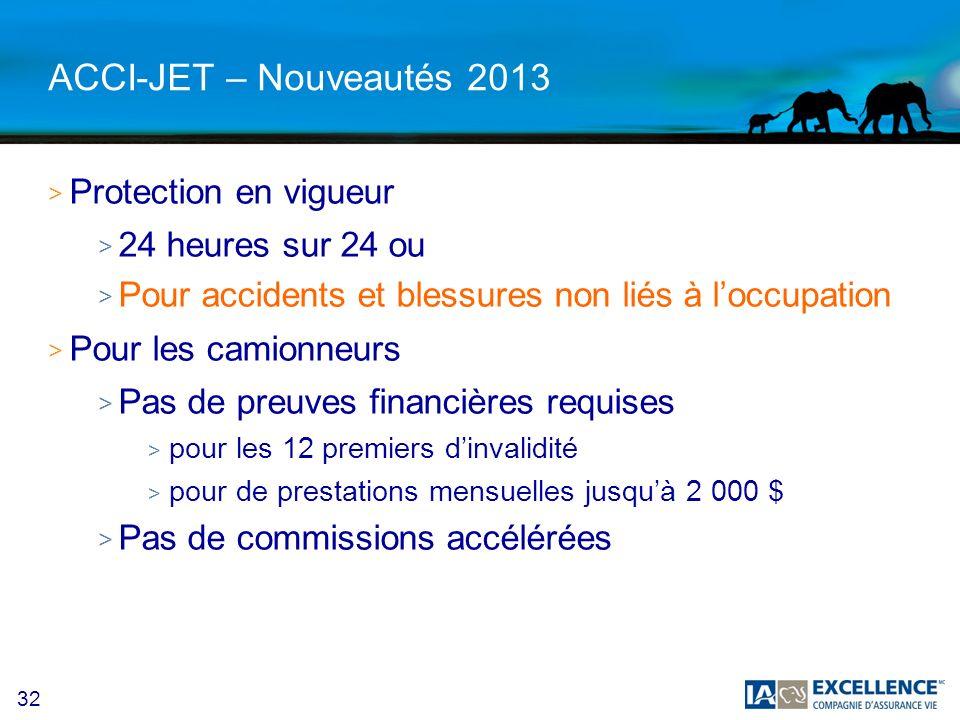 ACCI-JET – Nouveautés 2013 Protection en vigueur 24 heures sur 24 ou