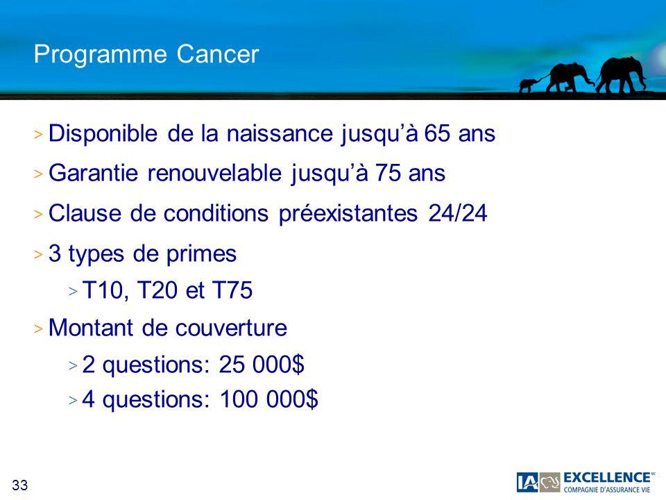 Programme Cancer Disponible de la naissance jusqu'à 65 ans