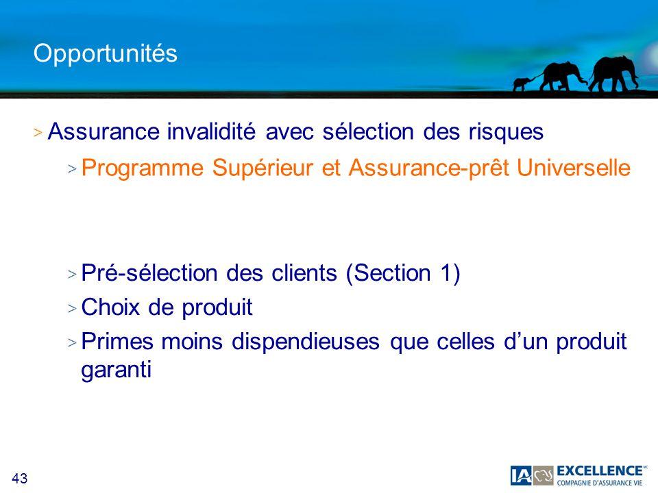 Opportunités Assurance invalidité avec sélection des risques
