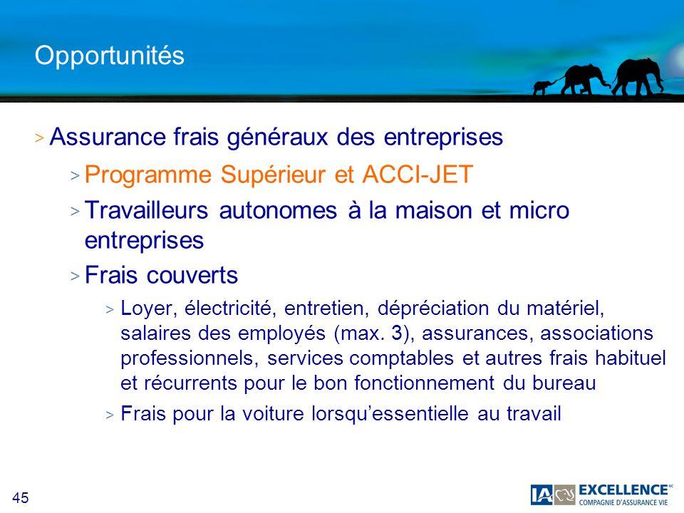 Opportunités Assurance frais généraux des entreprises
