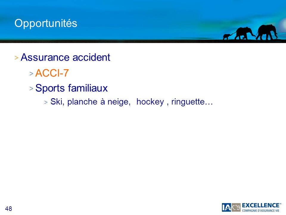 Opportunités Assurance accident ACCI-7 Sports familiaux