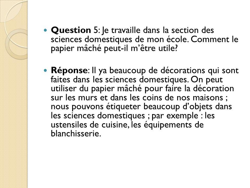 Question 5: Je travaille dans la section des sciences domestiques de mon école. Comment le papier mâché peut-il m'être utile