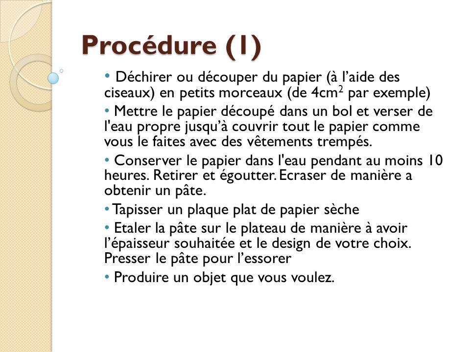 Procédure (1) Déchirer ou découper du papier (à l'aide des ciseaux) en petits morceaux (de 4cm2 par exemple)