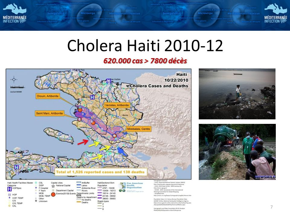 Cholera Haiti 2010-12 620.000 cas > 7800 décès