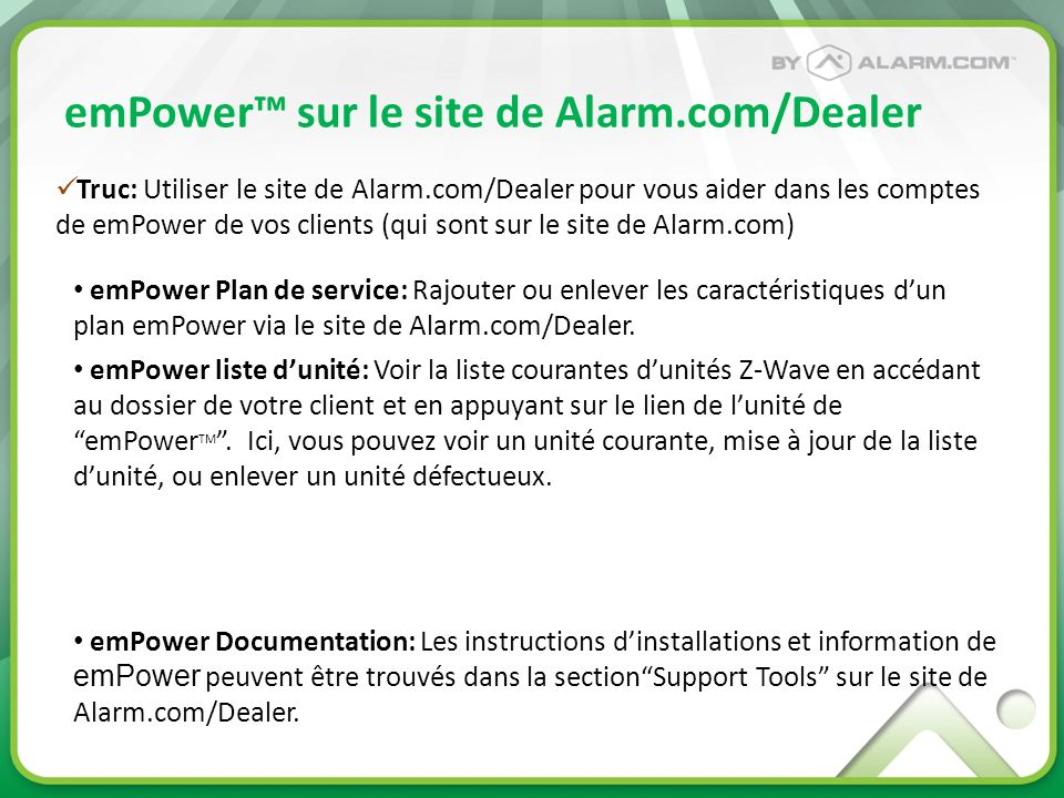 emPower™ sur le site de Alarm.com/Dealer