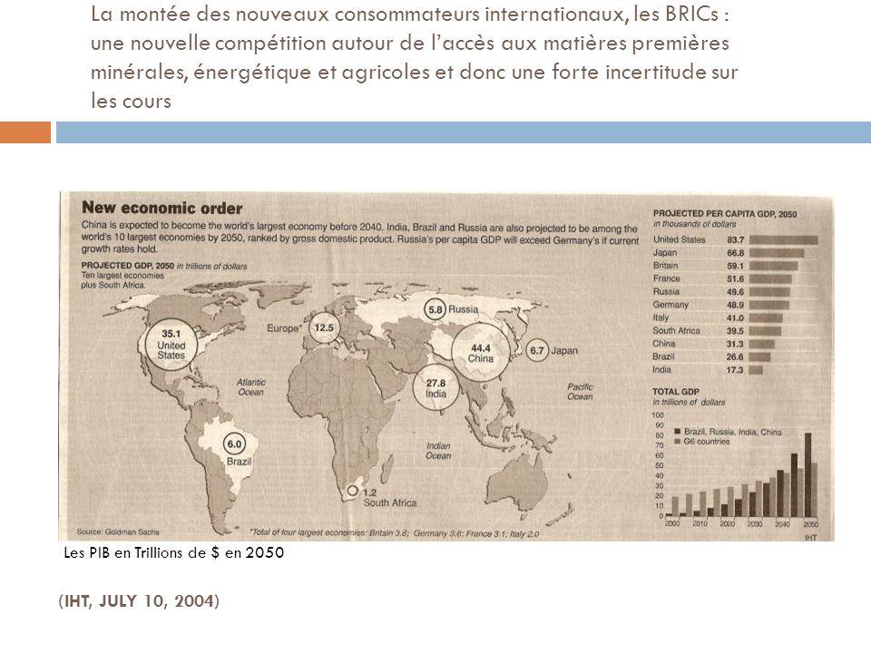 La montée des nouveaux consommateurs internationaux, les BRICs : une nouvelle compétition autour de l'accès aux matières premières minérales, énergétique et agricoles et donc une forte incertitude sur les cours