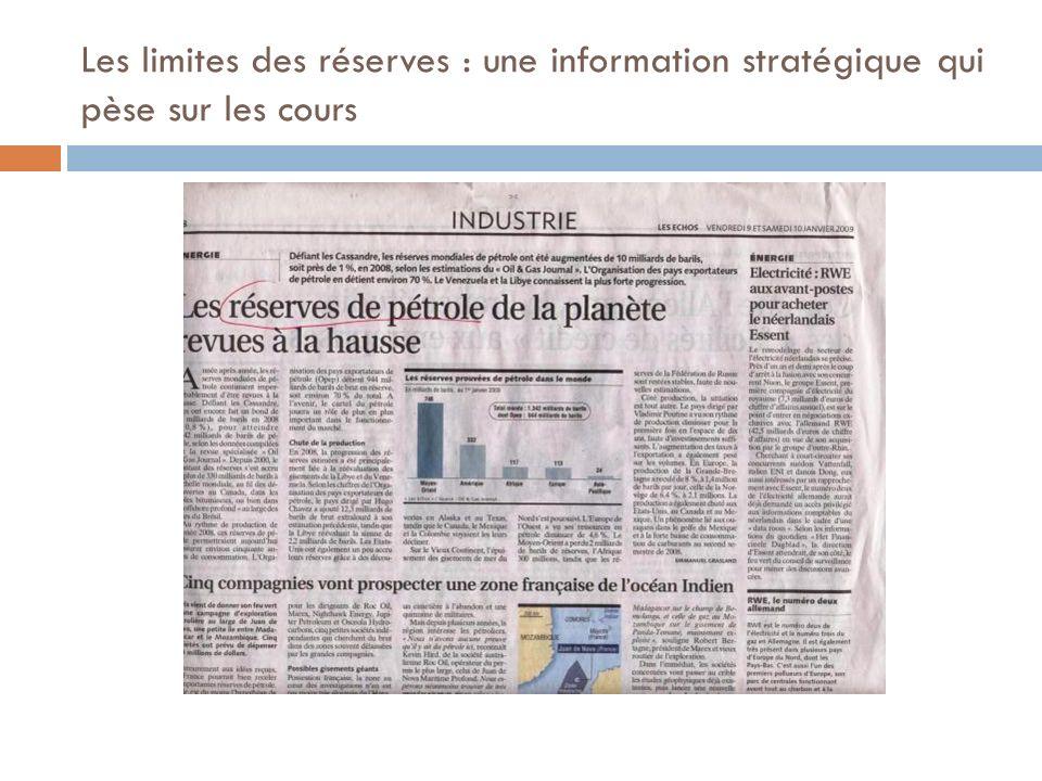 Les limites des réserves : une information stratégique qui pèse sur les cours