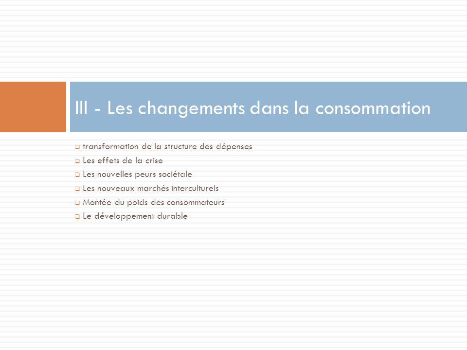 III - Les changements dans la consommation