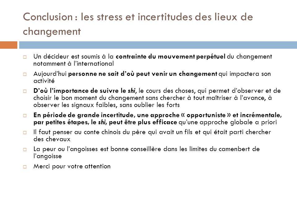 Conclusion : les stress et incertitudes des lieux de changement