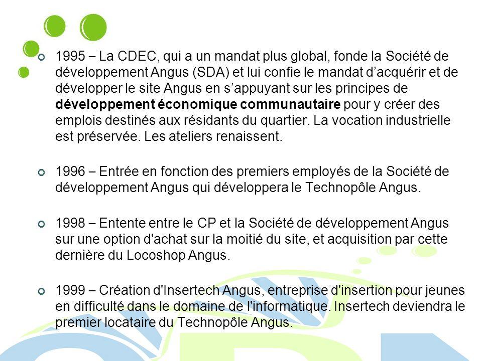 1995 – La CDEC, qui a un mandat plus global, fonde la Société de développement Angus (SDA) et lui confie le mandat d'acquérir et de développer le site Angus en s'appuyant sur les principes de développement économique communautaire pour y créer des emplois destinés aux résidants du quartier. La vocation industrielle est préservée. Les ateliers renaissent.
