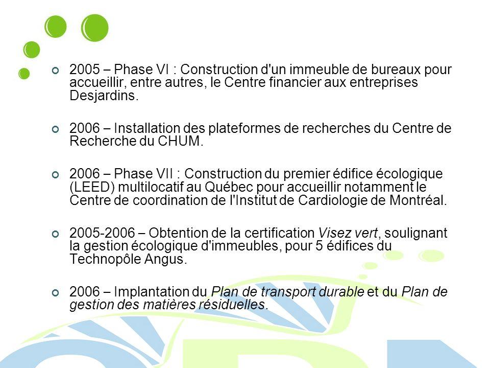 2005 – Phase VI : Construction d un immeuble de bureaux pour accueillir, entre autres, le Centre financier aux entreprises Desjardins.