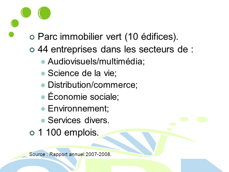 Parc immobilier vert (10 édifices).