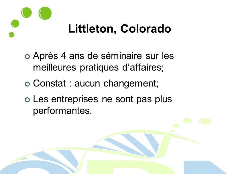 Littleton, Colorado Après 4 ans de séminaire sur les meilleures pratiques d'affaires; Constat : aucun changement;