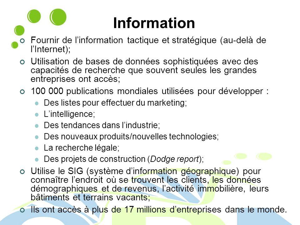 Information Fournir de l'information tactique et stratégique (au-delà de l'Internet);