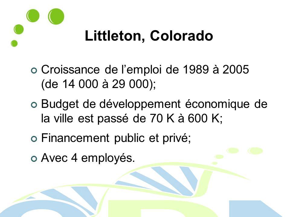 Littleton, Colorado Croissance de l'emploi de 1989 à 2005 (de 14 000 à 29 000);