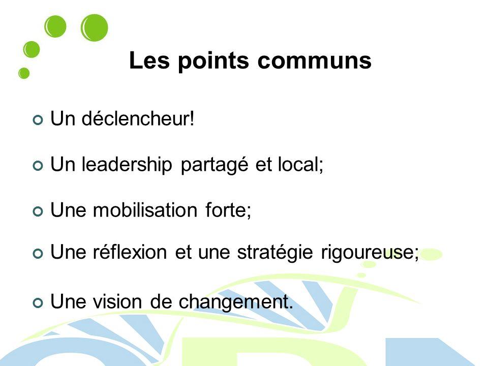 Les points communs Un déclencheur! Un leadership partagé et local;