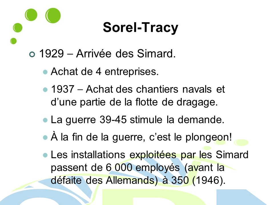 Sorel-Tracy 1929 – Arrivée des Simard. Achat de 4 entreprises.