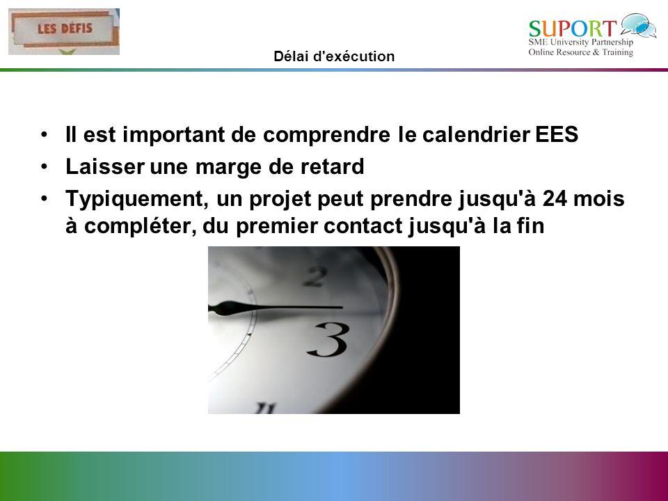 Il est important de comprendre le calendrier EES