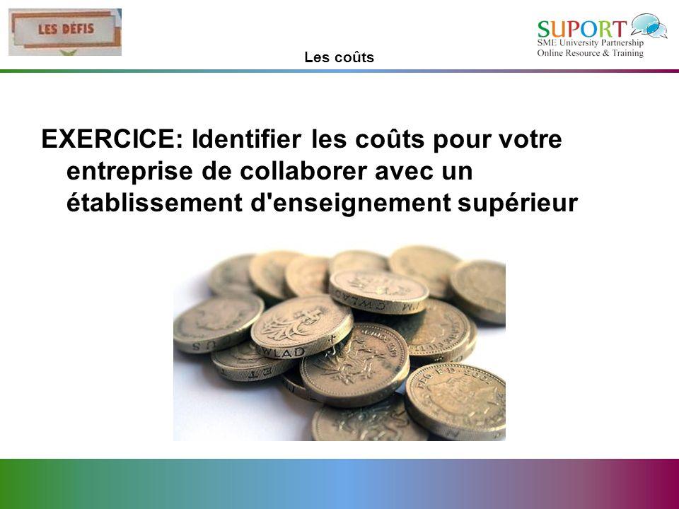 Les coûts EXERCICE: Identifier les coûts pour votre entreprise de collaborer avec un établissement d enseignement supérieur.