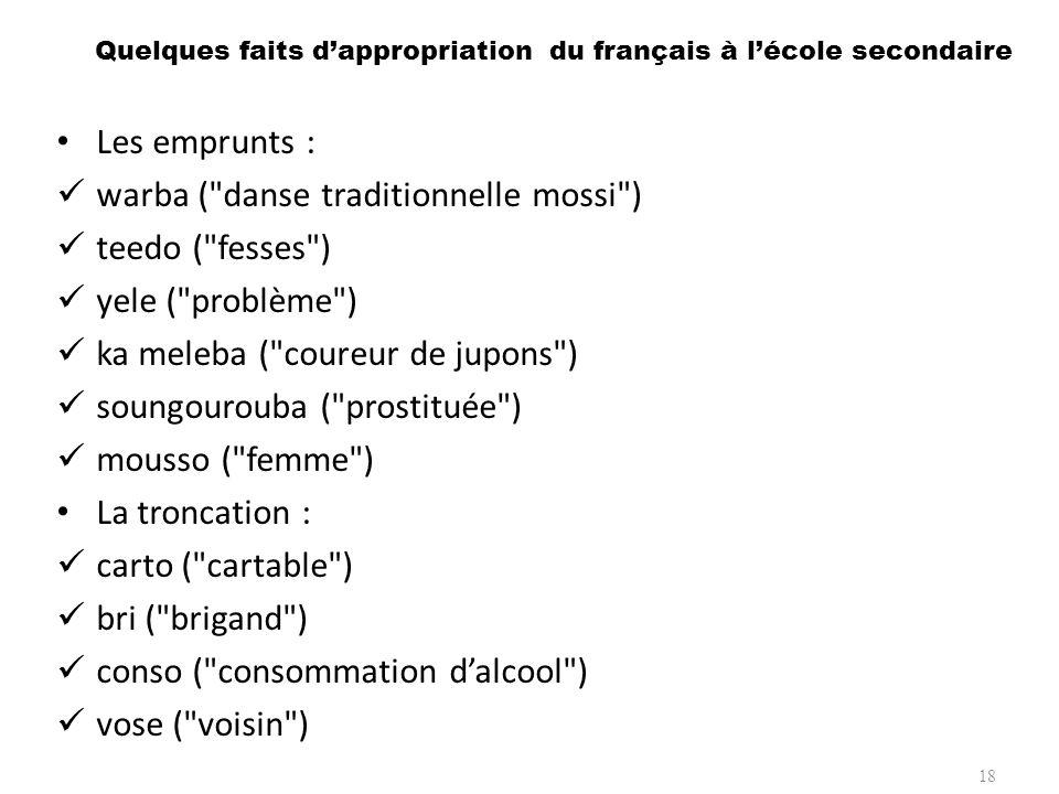 Quelques faits d'appropriation du français à l'école secondaire