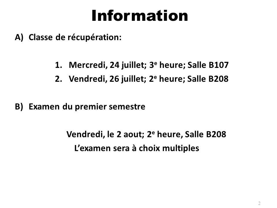 Information Classe de récupération: